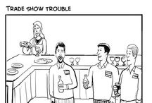 Humorous Cartoons for Trade Shows and Conferences / These cartoons were created by Mark Hill and commissioned by Bartizan to illustrate the lead collection frustrations voiced by exhibitors and show managers.