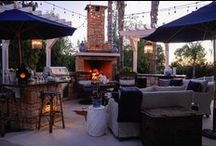 Dream Patio | Kathy Ann Abell Interiors / This space was created as a place where friends and family wanted to be, where joy was felt and connection was experienced. We filled this outdoor seating area with comfy sofas that are created to withstand the elements. But the real star of the space is the fireplace!