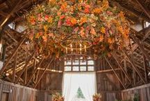 Charmed Wedding Decor & Inspiration / A tribute to the beauty of a wedding with details carved in wood, cradled in hay, and covered glory. Also some other non-rustic elements.