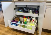 Under Sink Cabinets/Drawers / Storage under your sink can be cleverly used. Here's now :)