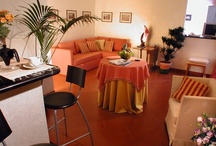 ORANGE Apartment / The apartment is divided into two different and well-separated areas: on one side a spacious living room with kitchenette and a completely updated full bathroom.  On the other, a master bedroom and a separate, private bathroom with shower. All comes furnished with a large sofa bed, built-in wardrobes, satellite television, telephone, high-speed  internet connection and in-room safe. The orange apartment can easily accomodate up to 4 people.