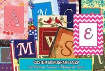 Monogram Flags / Personalized Monogram flags from Flagology.com. Unlimited text, your choice of colors. Printed to order in North Carolina on a fabric you will love.