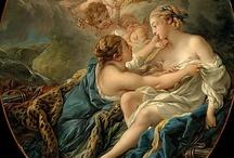 * Rococo  Paintings / Le rococo est un mouvement artistique européen du XVIIIe siècle touchant principalement l'architecture, mais également les arts décoratifs, ainsi que la peinture et, dans une moindre mesure, la musique et la littérature. Les peintures sont caractérisées par de nombreuses couleurs pastel et des formes incurvées. Les peintres décorent leurs tableaux d'anges chérubins et de tous les symboles de l'amour.