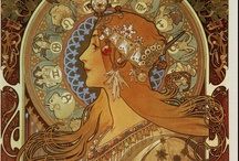 Alphonse Mucha -  Art Nouveau / Alfons Marie Mucha (1860 - 1939), known in English and French as Alphonse Mucha, was a Czech Art Nouveau painter and decorative artist, known best for his distinct style. He produced many paintings, illustrations, advertisements, postcards, and designs.