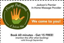 Specials / Here are some of the specials we offer during the year. Ask us about discounts we might have when you plan an appointment! http://jacksonhole.massagetherapy.com/special-offers