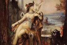 * Gustave Moreau (1826 - 1898) / Gustave Moreau was a French Symbolist painter whose main emphasis was the illustration of biblical and mythological figures. As a painter, Moreau appealed to the imaginations of some Symbolist writers and artists.