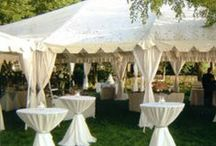 Draped & Decorated Tents / Under a white wedding tent loosely draped fabric can add that extra sophistication and style and will complete the feel of the tented space. Fabric draping is very versatile and by using colored fabric or lights, a tent can be personalized and transformed into an intimate and luxurious space.