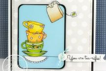 Tea Time {Stamp Set} by Becky Schultea Designs / Tea Time Stamp Set by Becky Schultea Designs, features fun tea cups to color.  #cardmaking #scrapbooking #tea #copic #coloring #teatime