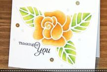 Blooming Rose {Die Set} / This beautiful open rose and leaf die set was designed with many options.  Inlay the same colors or accent colors of cardstock or leave it open or use it as a stencil.