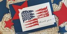 Simply Said:  Old Glory {Stamp Set} / Simply Said:  Old Glory Stamp Set is a fun patriotic set that you can use Red and Blue inks to create a beautiful brush stroke flag