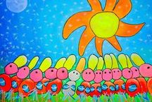Bright Art by Nosybirds / Kunst, art, schilderijen, paintings, bright colors, happy!