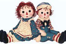 Dolls ---Raggedy Ann & Andy / All things raggedy. / by Marla Ruiz
