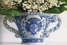 Azul e branco / Louças decoradas em azul e branco