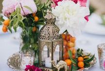 Arabian Nights Themed Wedding / It's all about the sights and senses with this theme, so be sure to flood your happy day with an abundance of bright flowers, jewel tones, fragrant aromas and bohemian touches such as ornate lanterns, floor cushions, and rich tapestries. To really cement the Middle Eastern feeling at your wedding celebrations, infuse the occasion with the traditional sounds of authentic Arabic instruments.