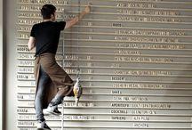 Work spaces: Memo boards / Pin boards; chalk board; command centres