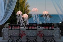Party ideas: Beach / Entertaining; parties; party table settings; party decorations; party invitations; party lighting