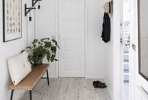 ENTER / Home Decor • Entryways | The charming table, mirror, and coat rack that greets you upon entering a home.
