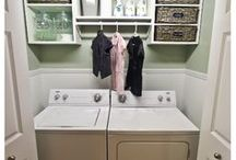 Laundry Room Organizing / organized laundry rooms, detergents, hampers, drying racks, hangers, clothing, ironing board, laundry baskets