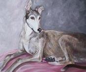 Art : Dogs - Greyhounds.