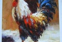 Art : Chicken and Rooster.