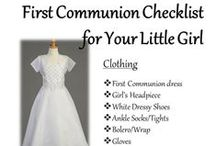 First Communion / Featuring First Communion dresses, girls headpieces and shoes as well as boy's suits & shoes to celebrate your child's most holy of days.  Visit us at www.BaptismalGownsPlus.com for our full line of First Communion clothing and accessories.