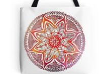 Bags from Kanvisstyle design / Durable, double sided, full bleed printed, incredibly beautiful carrying device. With a comfortable black cotton shoulder strap and available in three sizes there's no limit to the exciting things you can carry about. Selected design printed on both sides.Available on Society6 and Redbubble. #Tote bags, #Drawstring bugs #kanvisstyle