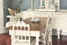 Dining room / Dining room, shabby chic, white, cushion