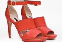 Pumps / Reach new heights in trendy super-high pumps this season. Also on trend are metallic shades, bright colors and decorative embellishments.