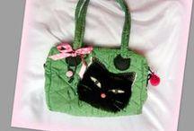 Cicás kislánytáska - Judy Majoros / Újrafelhasznált alapanyagokból kézzel készült egyedi kötött táska. megtekinthető még: a www.facebook.com/judymajorosdesign oldalon. Köszönöm az érdeklődést! :) Handmade by Judy Majoros -Green quilted cat handbag-shoulder bag. Black Faux fur cat. Recycled bag