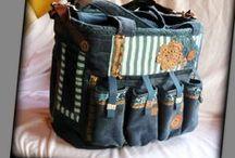 Scrapbook táska - Judy Majoros / Újrafelhasznált alapanyagokból kézzel készült egyedi táska. Megtekinthető a www.facebook.com/judymajorosdesign oldalon. Köszönöm az érdeklődést! :) Handmade by Judy Majoros -Blue-brown velvet striped chrochet scrapbooking tote-bag. Recycled bag. Materials:chrochet-leatherette-rubber strap-velcro-canvas...