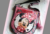 Minnie Mouse farmertáska kislányoknak :) - Judy Majoros / Újrafelhasznált alapanyagokból kézzel készített egyedi táska. megtekinthető még a www.facebook.com/judymajorosdesign oldalon. Köszönöm az érdeklődést! :) Handmade by Judy Majoros - Minnie denim crossbody bag with pom pom. Recycled bag.