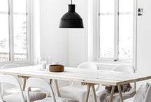 Esszimmer / Dining Room / Wunderschöne Esstische und Esszimmer-Stühle, immer neu kombiniert mit tollen Hängelampen und edlem Geschirr