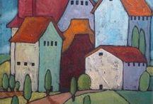 Haus, Stadt, Landschaft / Darstellungen von Häusern, Siedlungen, Städten und Landschaften in Kunst und Illustration.