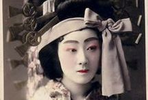 """Oiran/Tayuu/Yujo / Terms: Yujo: Licensed prostitutes. Jigoku: """"Hell women,"""" unlicensed prostitutes. Joro: Courtesan. Tayu:  Generally used to refer to the highest-ranking courtesans of the Shimabara in Kyoto.  While there were once tayu in the Yoshiwara, the rank was extinct by 1763. Oiran: A post-tayu term used to refer to the highest-ranking courtesans of the Yoshiwara in Edo.  Their rank was called Yobidashi. Shinzo: An apprentice courtesan.  Kamuro: The child attendants of the courtesan."""