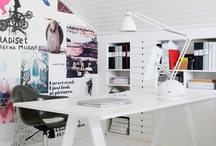 { workspace ideas } / I like white studios/rooms with pops of colour!
