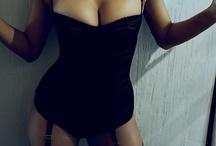 { lingerie } / #sexy #black #teal #lingerie #corset #underwear