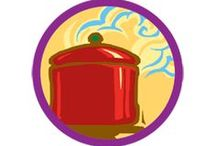 Simple Meals Badge -- Junior Girl Scout Badge Ideas / Requirements for earning Simple Meals Junior Badge--  Step 1: Step up your skills with a pro.  Step 2: Whip up a great breakfast.  Step 3: Fix a healthy lunch or dinner.  Step 4: Create a delicious dessert.  Step 5: Make your own meal.  / by Junior Girl Scout Badges