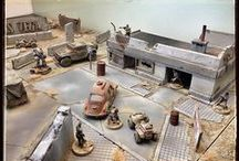 terrain ideas - post-apo, industrial, cyberpunk / pictures of post-apocalypse and industrial themed terrain and building for miniature wargaming