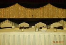 Brown, gold & light green wedding