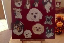 "My art work and other pictures to paint from.    By Debra I. Galarneau.                ""Wag The Tail"" / Acrylic paintings by Wag the Tail. / by Debra Galarneau"