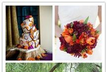 "Radiant Orchid Wedding / Deep purple, or ""radiant orchid"" is a popular color for fall weddings. It goes beautifully with a rustic setting and the warm oranges of autumn in New England. Dresses, flowers and decorations all in this hot hue here."
