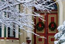 """Wreath Adorned Homes / Nothing says """"Welcome!"""" like a wreath on the front door! Here are some of our favorite wreath adorned homes!"""