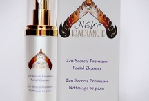 New Radiance Skincare / Swarovski-style crystal elements, Pearl luminescent bottles, gold. Spa skincare loaded with goodies- antioxidants, vitamins ABC E, beauty radiance youth