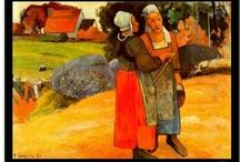 Paul Gauguin / Paul Gauguin fou un pintor francès postimpressionista. Gauguin va tenir una forta personalitat artística i va supeditar la tècnica a les necessitats d'expressió. Inicialment va adquirir l'estil impressionista, però amb tendència a allunyar-se de la realitat, o bé alterant la tècnica o bé introduint elements en la composició que resulten misteriosos i inquietants.