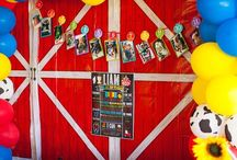 Farm Birthday Party Ideas / Farm birthday party and tractor party ideas for a first birthday or any birthday. Decor, invitations, and DIY birthday decorations featuring farm animals, tractors, barnyards, and more.