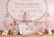 Pink & Gold Party Ideas / Pink and gold theme party ideas - from birthdays to baptisms to baby showers. Great theme for a first birthday or any girl's birthday party. Pink and gold invitations, party decorations, pink and gold backdrops and lots of gold glitter decor.