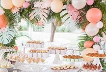 Tropical Party Ideas / Ideas for a tropical birthday party, baby shower, bridal shower, and more! From palm trees to pineapples, you'll find tropical party invitations, food ideas, favors, decorations, and more.