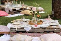 Garden party / Afternoon tea Dessert table Outdoor movie night