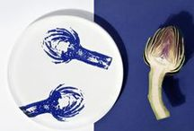 """Végétales - Porcelain tableware / The act of giving """"nature"""" as a symbolic footprint, to mention the daily value on our tables. The decorations are made with the ancient technique of manual printing molds carved from pear wood and powder blue color of the Netherlands."""