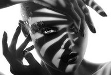 Shoot 1 Shadow. / Inspiratie board. Klassieke Hollywood belichting gemixt met moderne abstracte grime.  Neem details van make-up foto's.